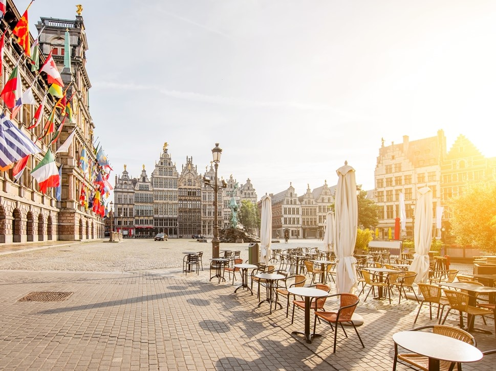 Antwerp Grotemarkt and cafe tables