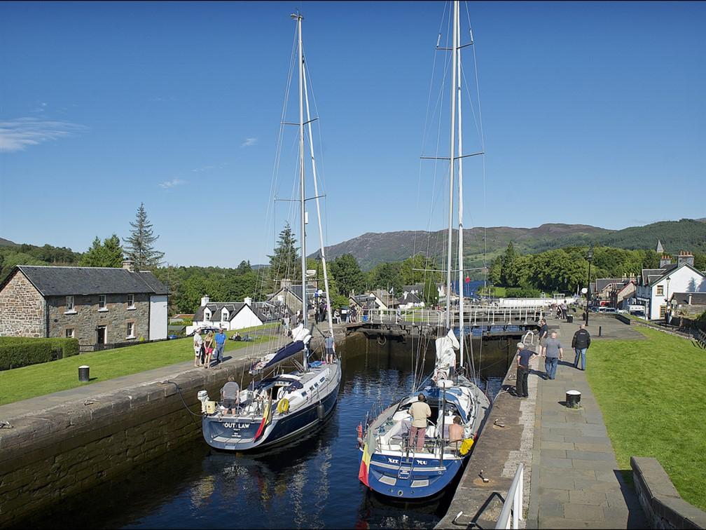 Boats descending Fort Augustus Locks into Loch Nes
