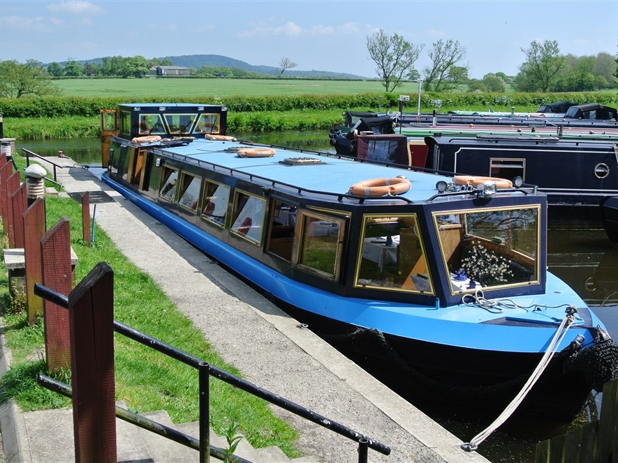 Canal Boat Riley Green Moored