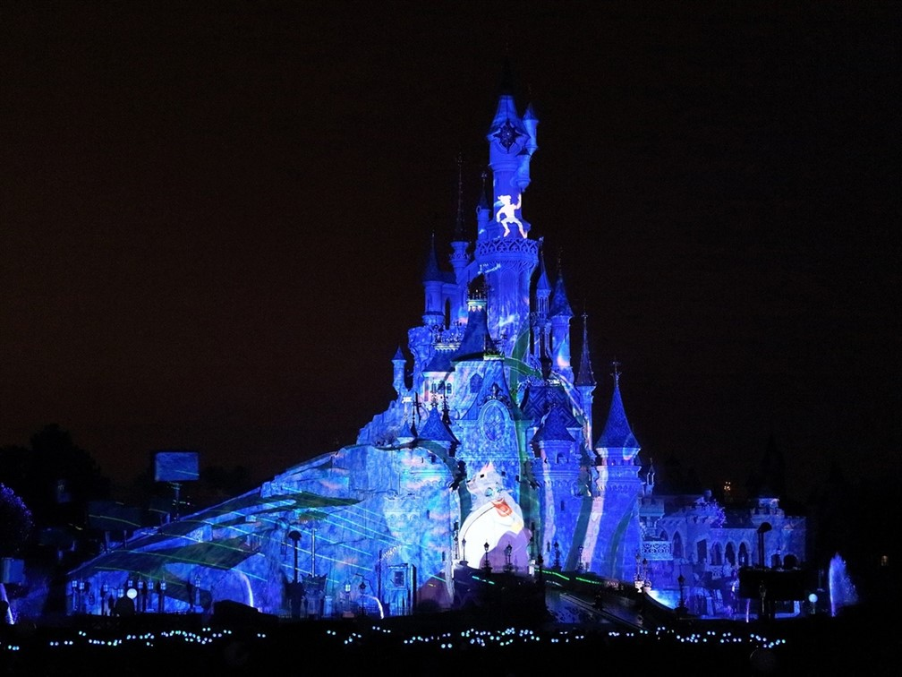 Castle illuminated at Halloween