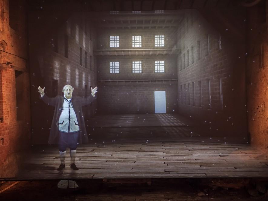 Cromford Mills Gateway -Richard Arkwright hologram